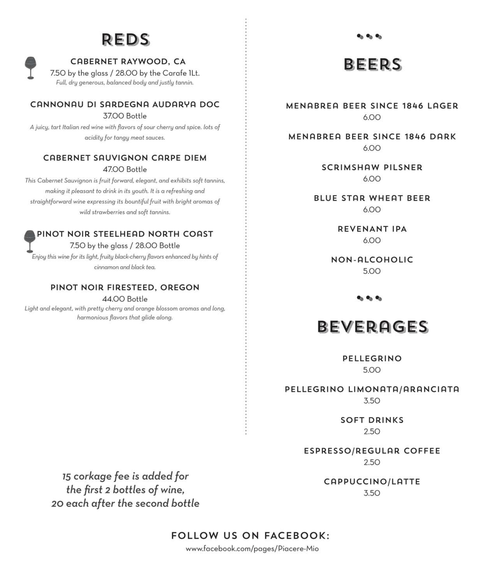 Wine Menu Reds and Beer menu