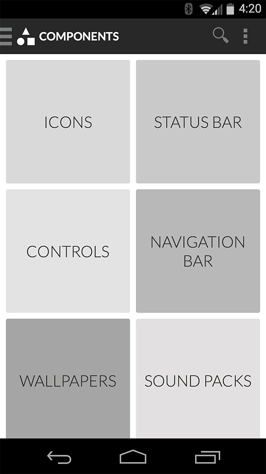 Component category grid