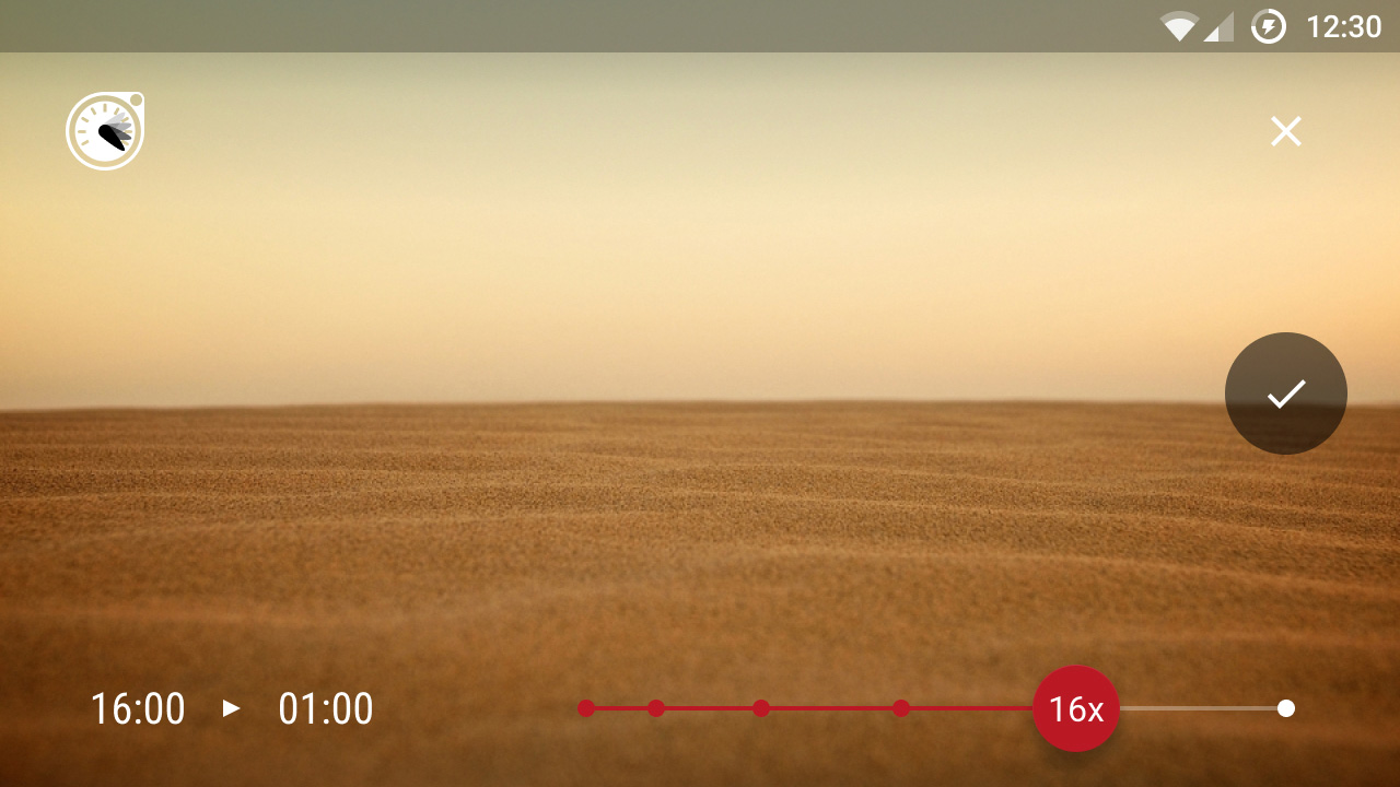 Landscape view of choosing Hyperlapse speed for existing video