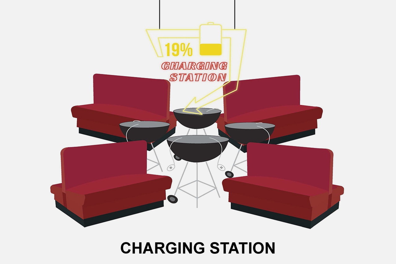 Charging station plan, hiding cables in grills
