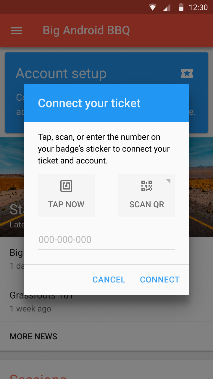 Connect badge to app to unlock event features