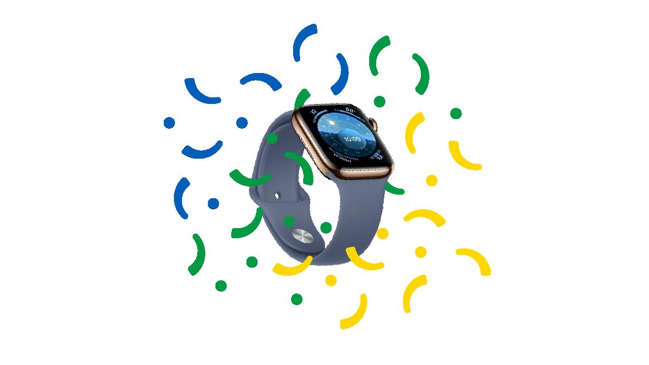 Swappa confetti surrounding an Apple Watch