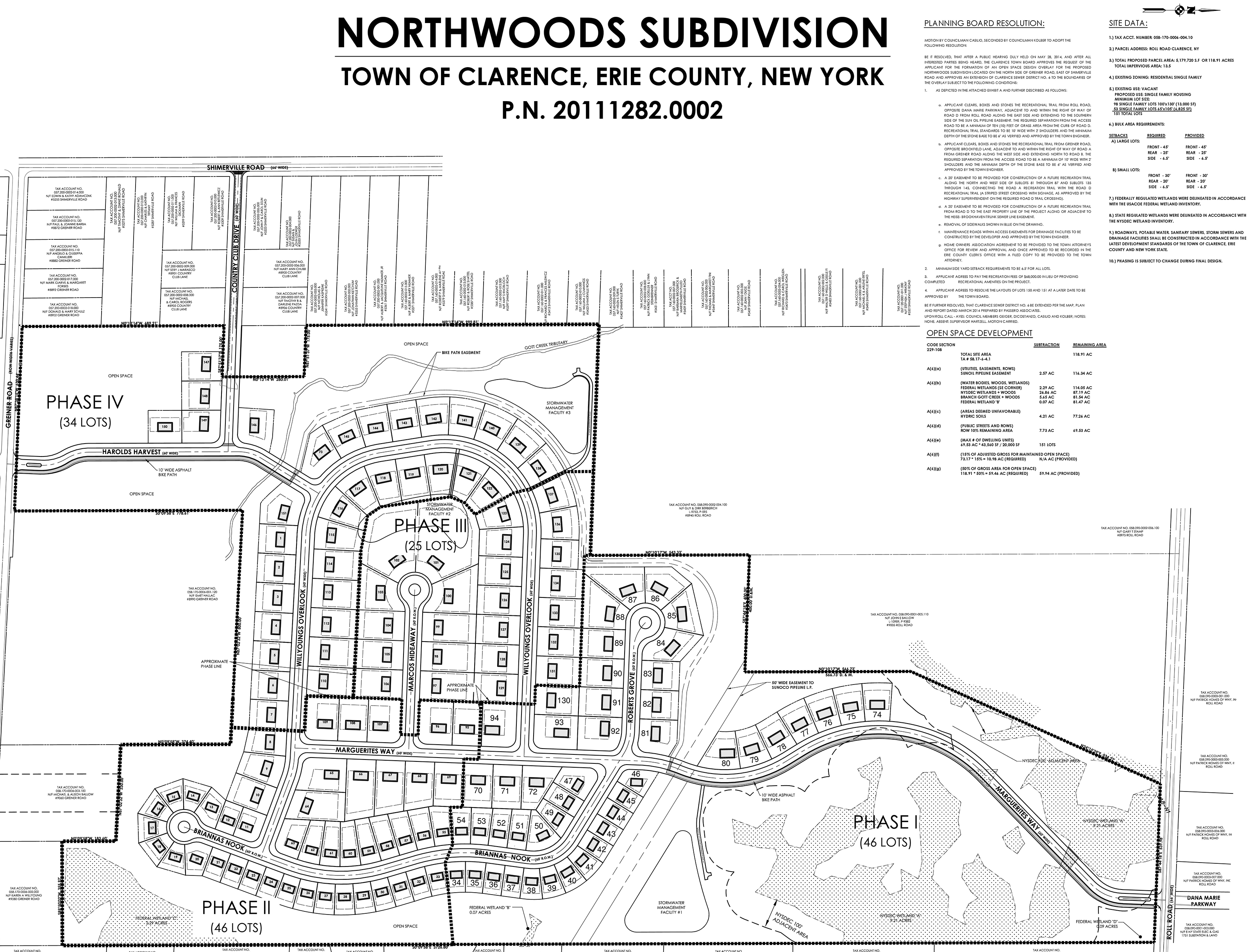 Northwoods subdivision map