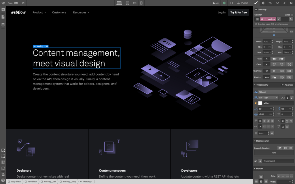 Alternativa Adobe Muse : Webflow