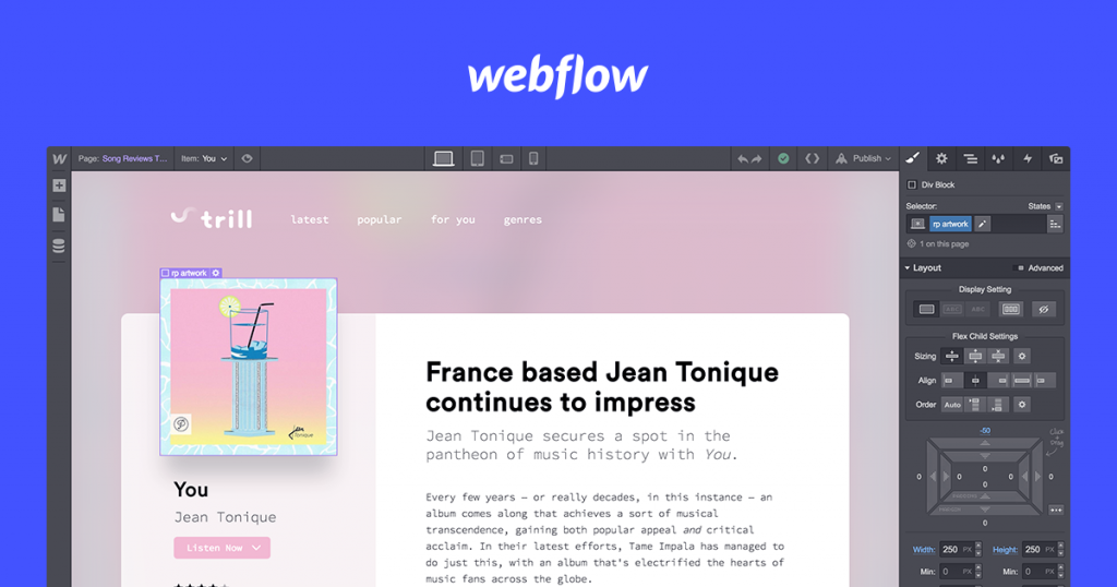 Interfaccia di Webflow