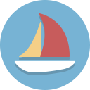 Tecknad segelbåt