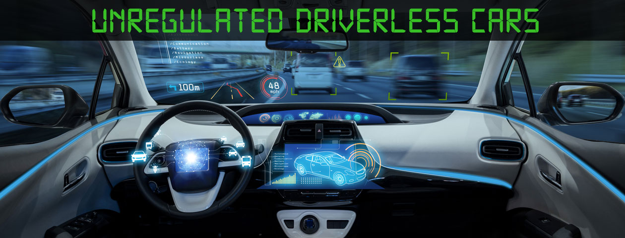 interior of driverless car on road