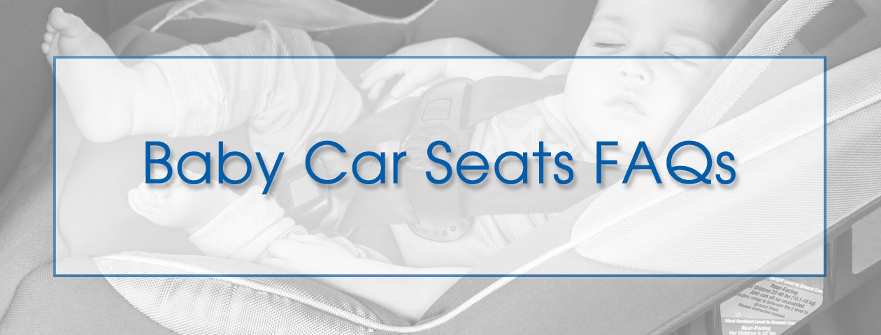baby car seats FAQs with pic of baby in car seat