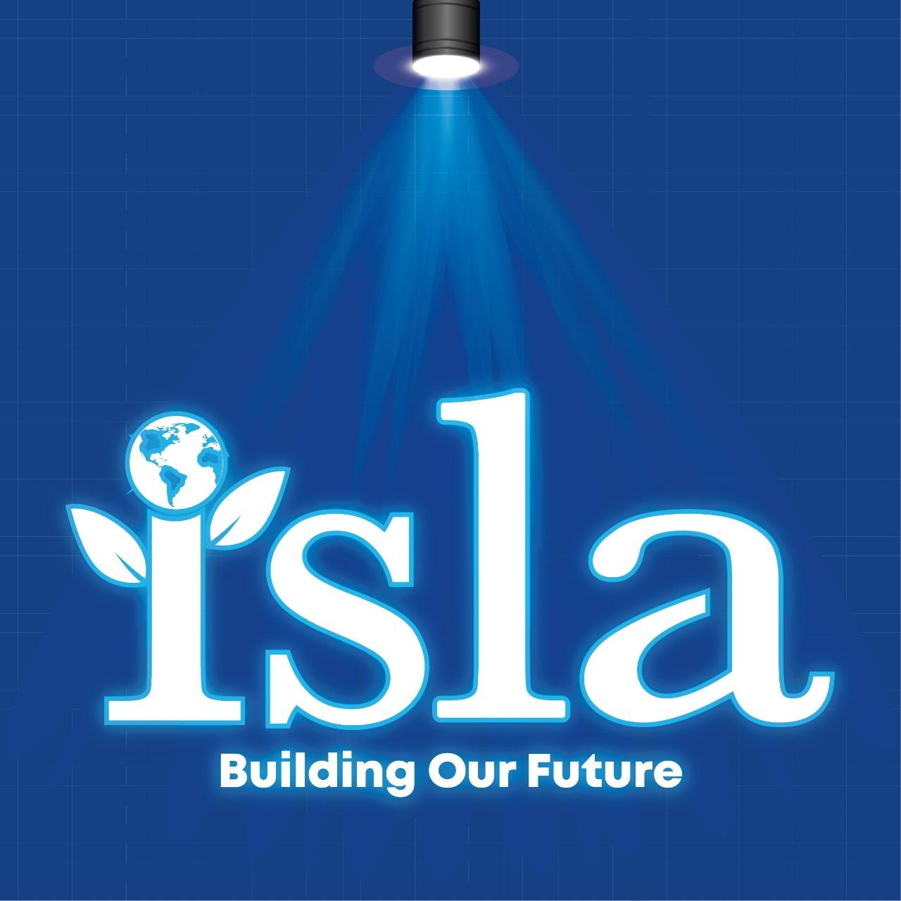 ISLA logo with spotlight graphic on top