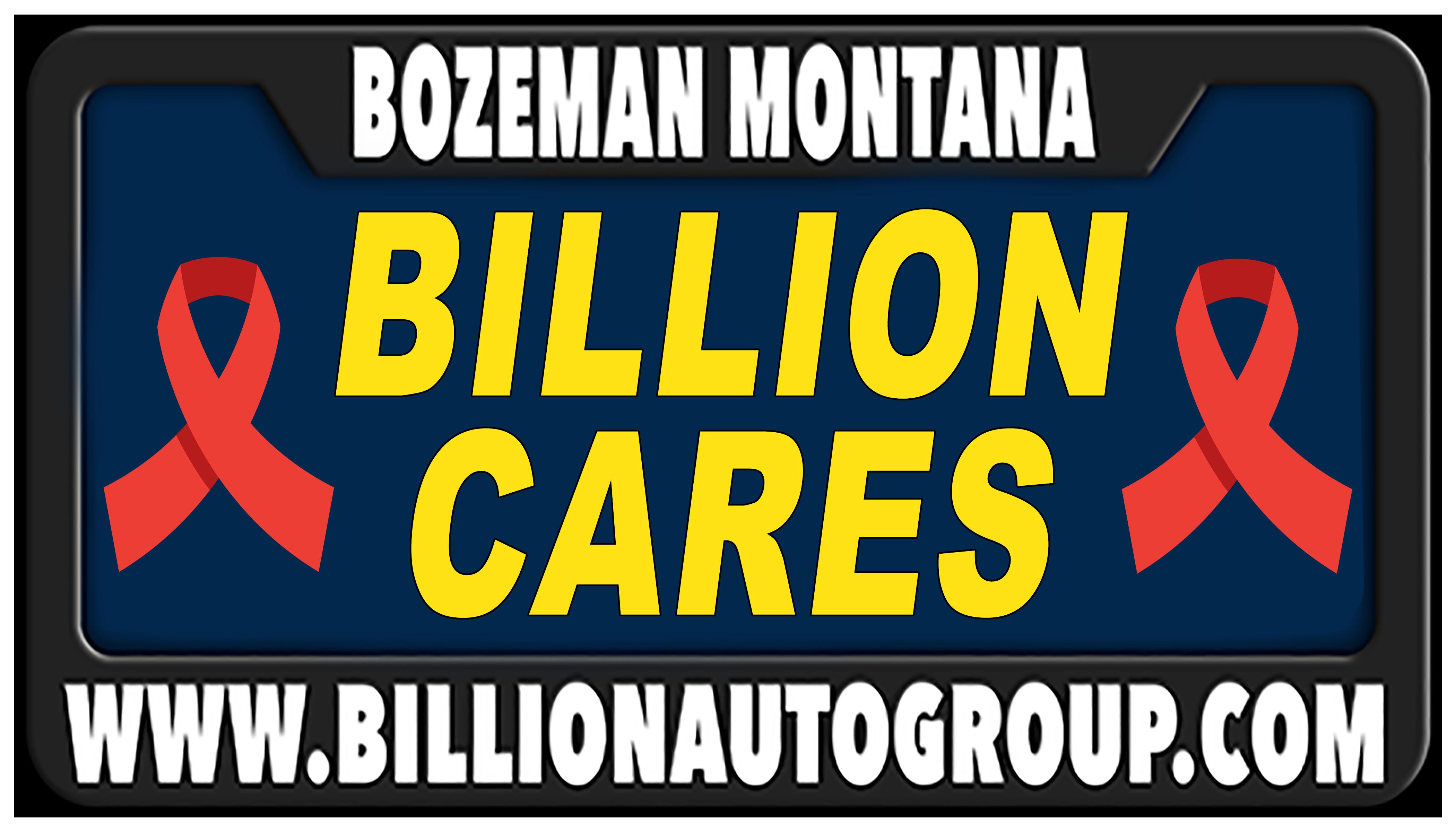 "Billion Auto Group logo with ""Billion Cares"""