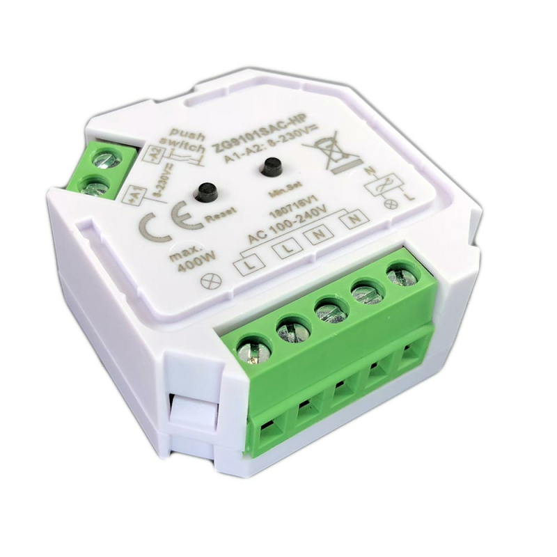 Dimmaktor für Schalter mit Nullleiter aus einer seitlichen Ansicht