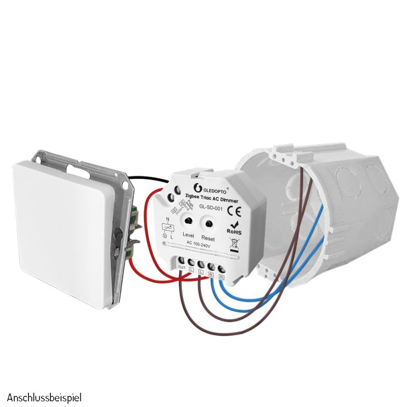 Abbildung eines Anschlussbeispieles für einen Dimmaktor für Taster mit Nullleiter