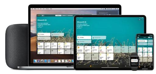Verschiedene Apple Geräte wie Macbook, Ipad, Apple Watch oder Iphone mit der Home App geöffnet