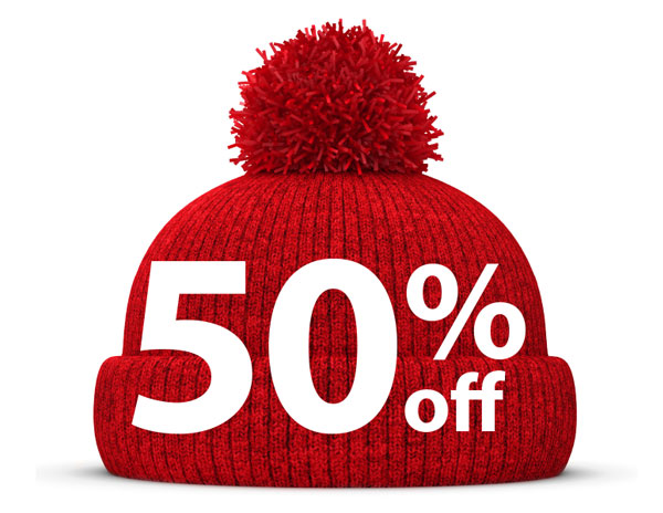 Picture of red wooly winter hat with fantastic discount offer overlaid
