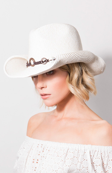 White Cowboy Style Hat from Pia Rossini at Bakou in West Wimbledon