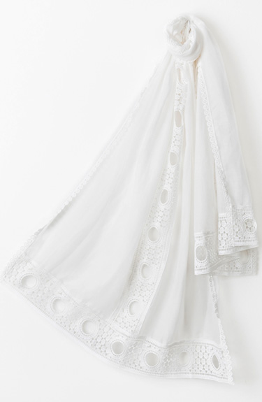 Beautifully Detailed White Scarf from Pia Rossini at Bakou in West Wimbledon
