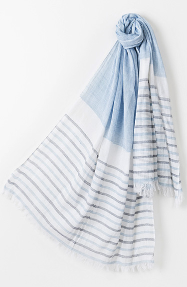 Blue and White Summer Scarf from Pia Rossini at Bakou in West Wimbledon