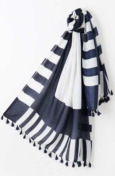 Navy and White Summer Scarf from Pia Rossini at Bakou in West Wimbledon
