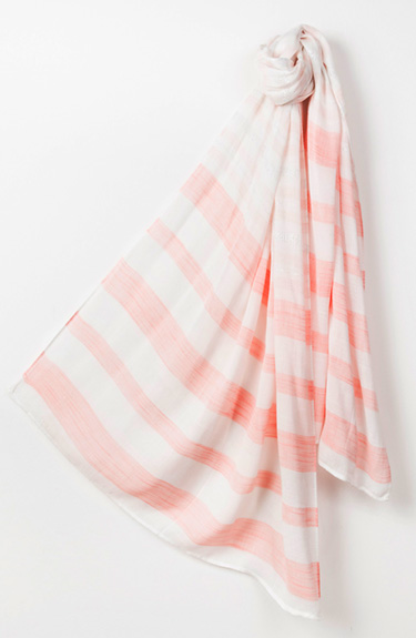 White and Coral Stripped Scarf from Pia Rossini at Bakou in West Wimbledon