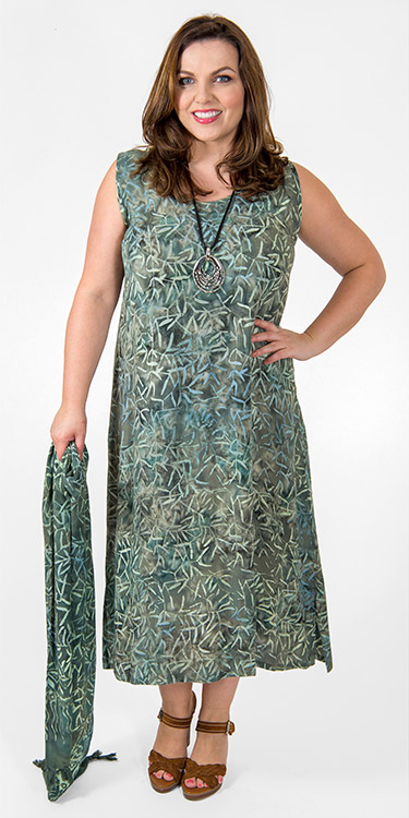 This model is wearing a simple and elegant batiq print viscose dress by Angel Circle with matching scarf