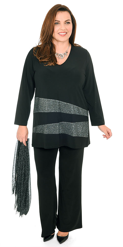 This image shows a model wearing a sparkly silver and black from Bakou in West Wimbledon. Plus sizes 14-30