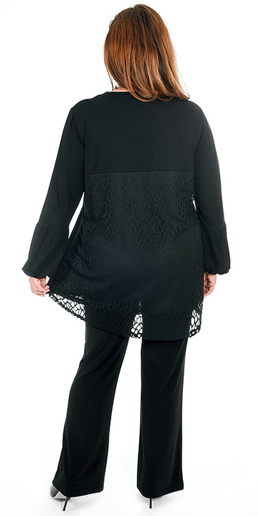 This model is wearing a gorgeous puff sleeve top from See You which has a stunning lace feature on the back teamed with Yoek silky jersey bootleg trousers in black. Sizes 14-30