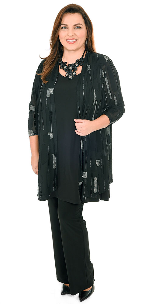 This image shows a model wearing a stunning sheer evening jacket from Mona Lisa teamed with Yoek silky jersey A line vest and bootleg trousers in black.