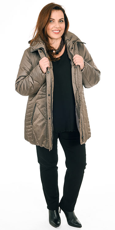This model is wearing a gorgeous hooded puffa from Frandsen over an Exelle long sleeved t-shirt and Robell Elena jeans