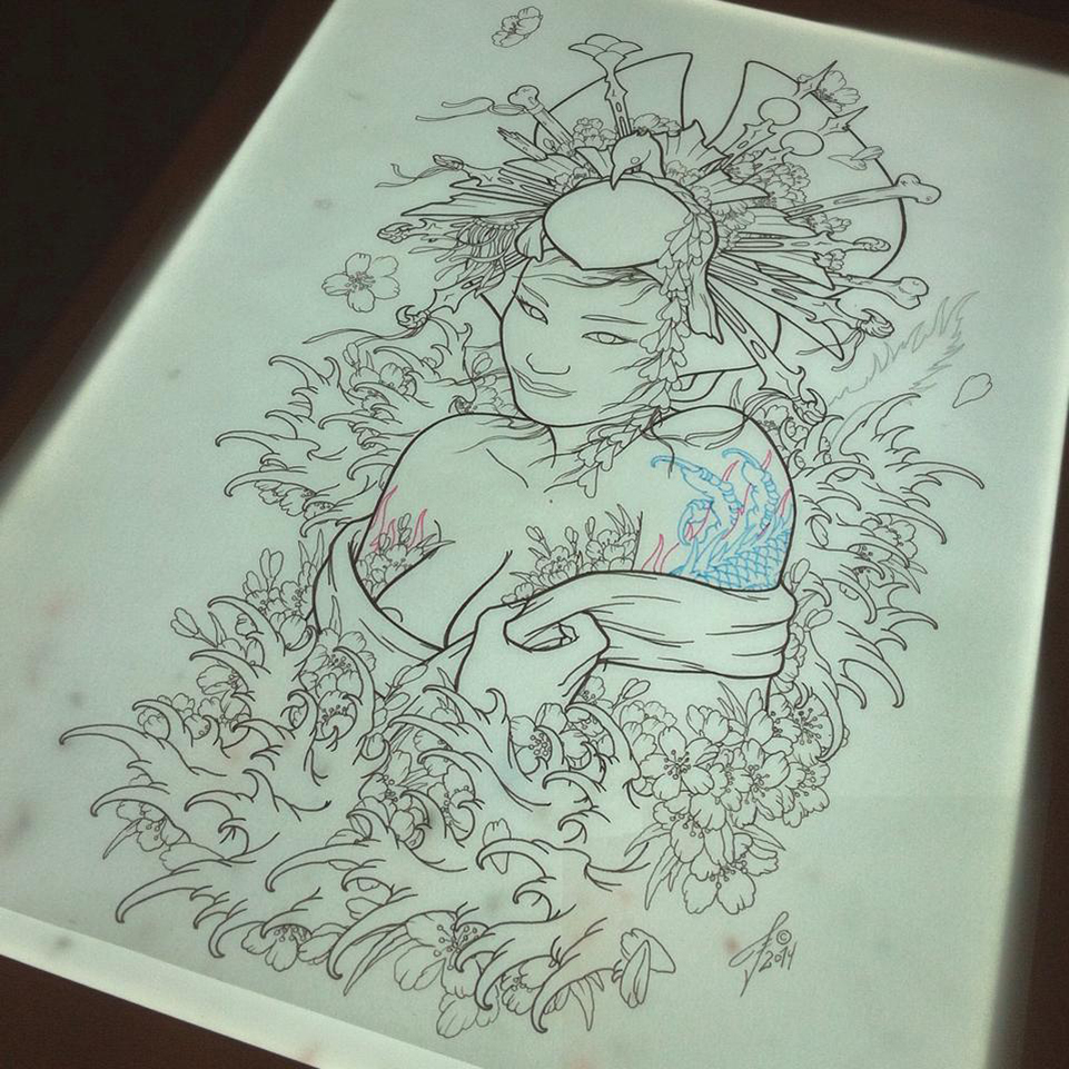 Drawing geisha