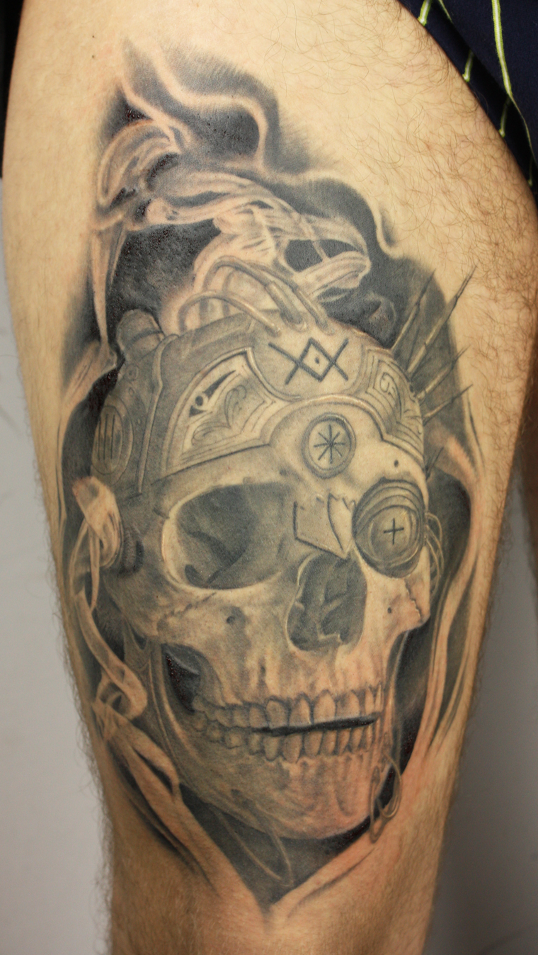 Steampunk skull and smoke