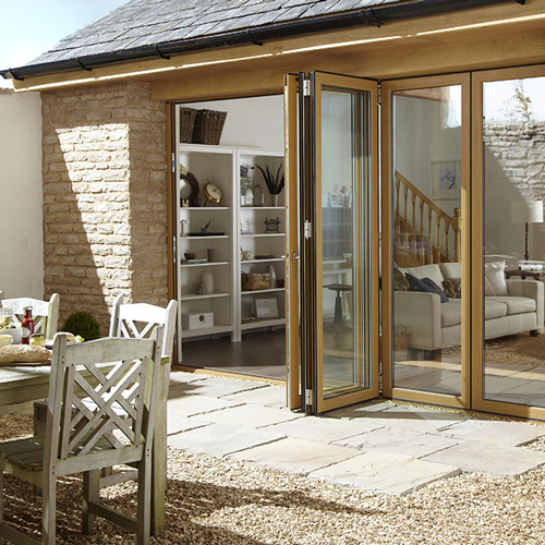 Wood effect aluminium folding door