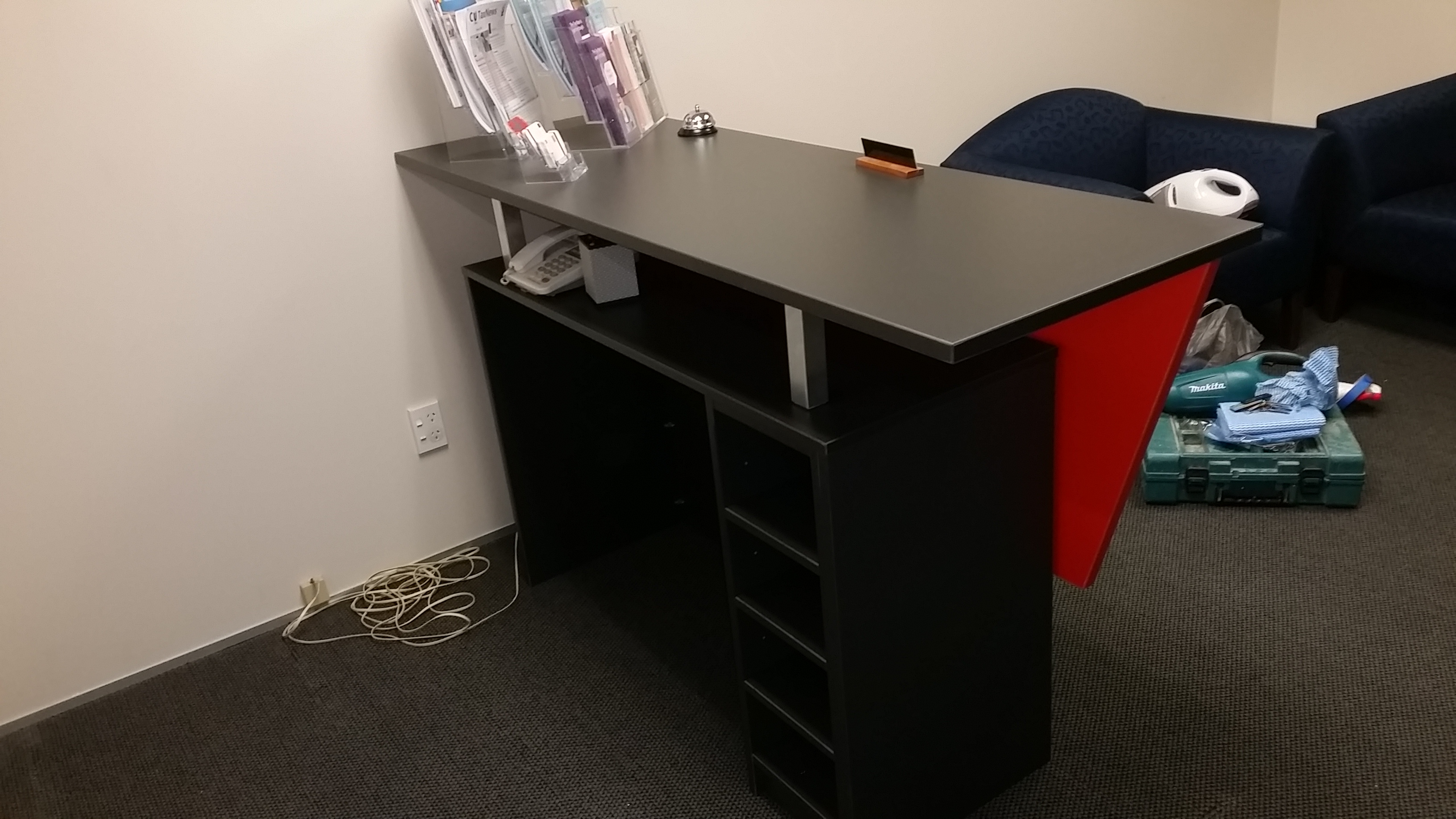 desk, reception area, castom cabinets