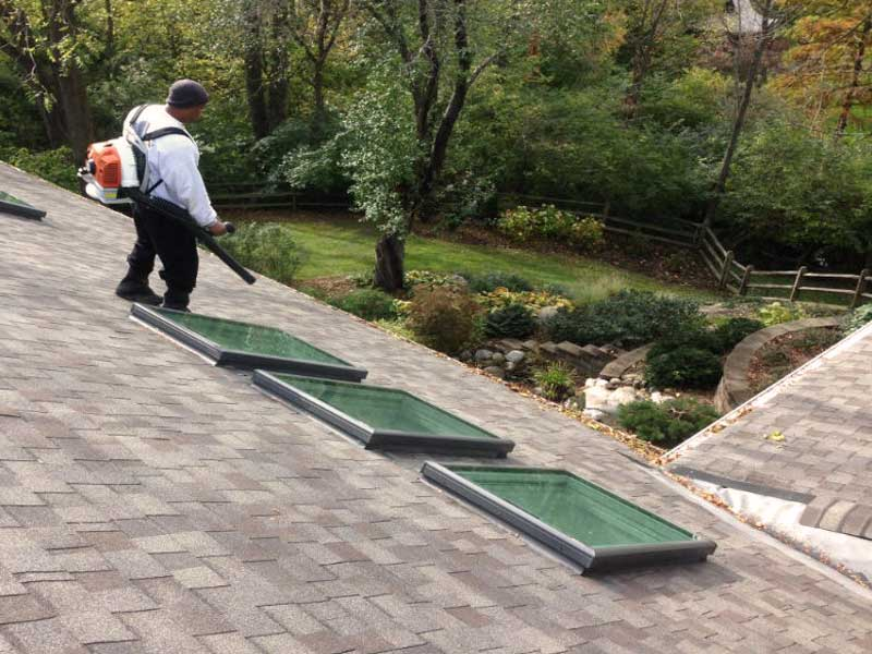 Our technician expertly cleaning a Columbus home's roof.