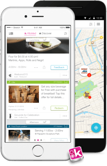 Image of two phones showing items happening now on the Klickle Smart Feed and Klickle Map.