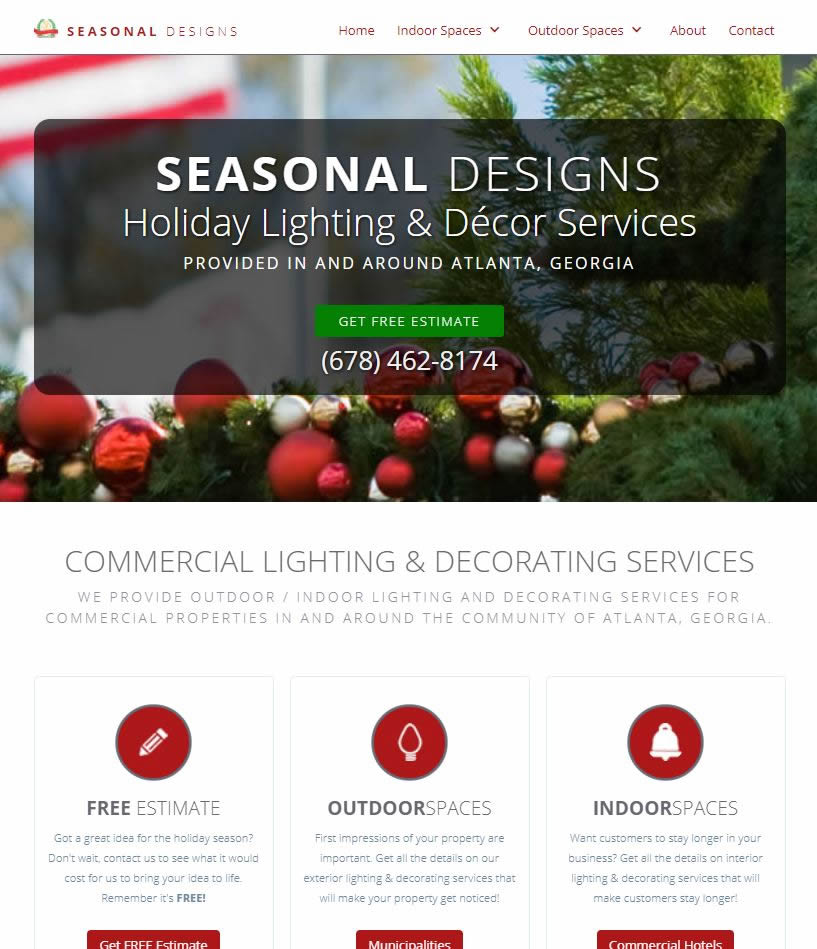 holiday decorating website design