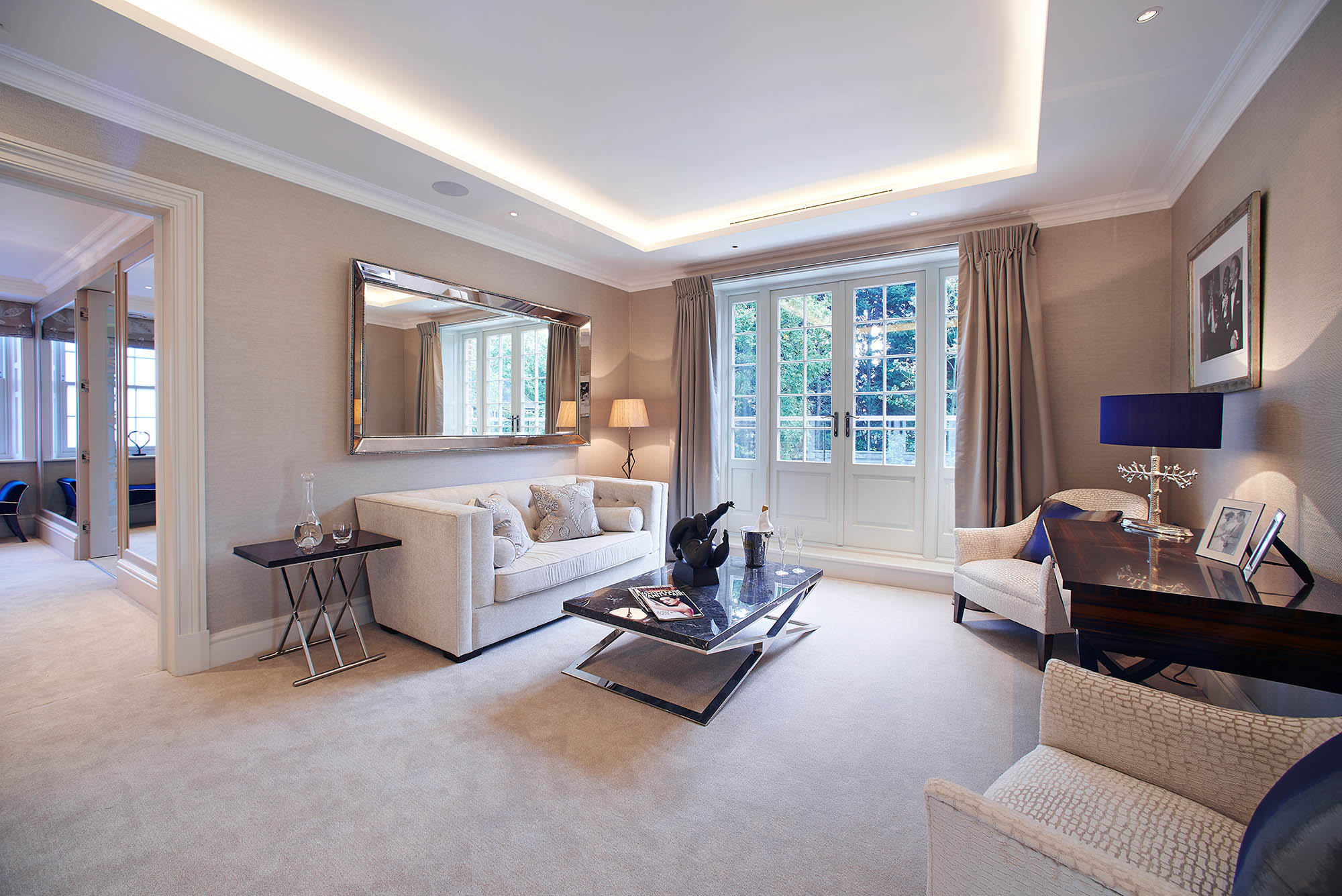 Sitting Area with french doors for luxury Surrey home renovation