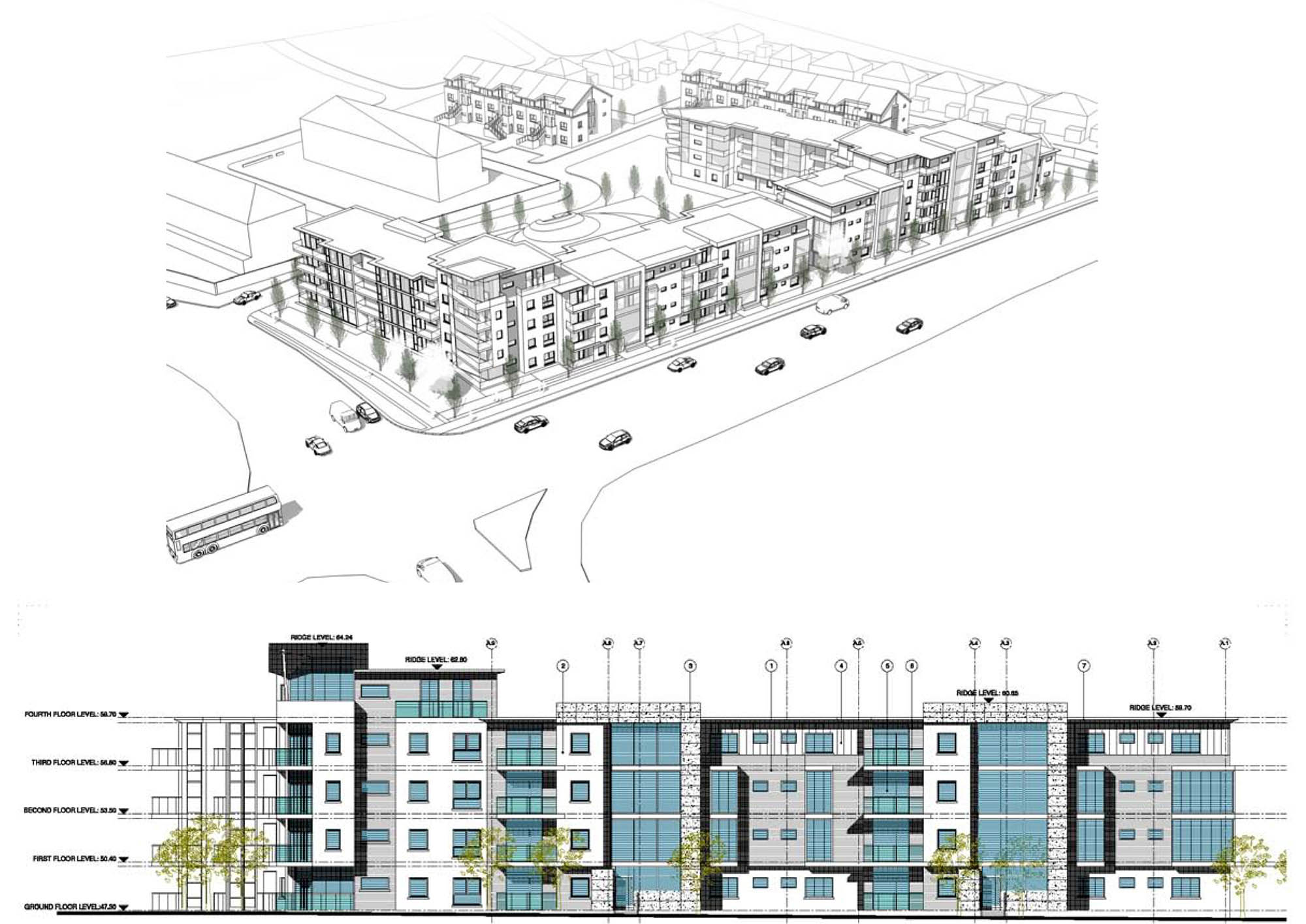 Architect's plan and drawing for Dublin Apartments Development project