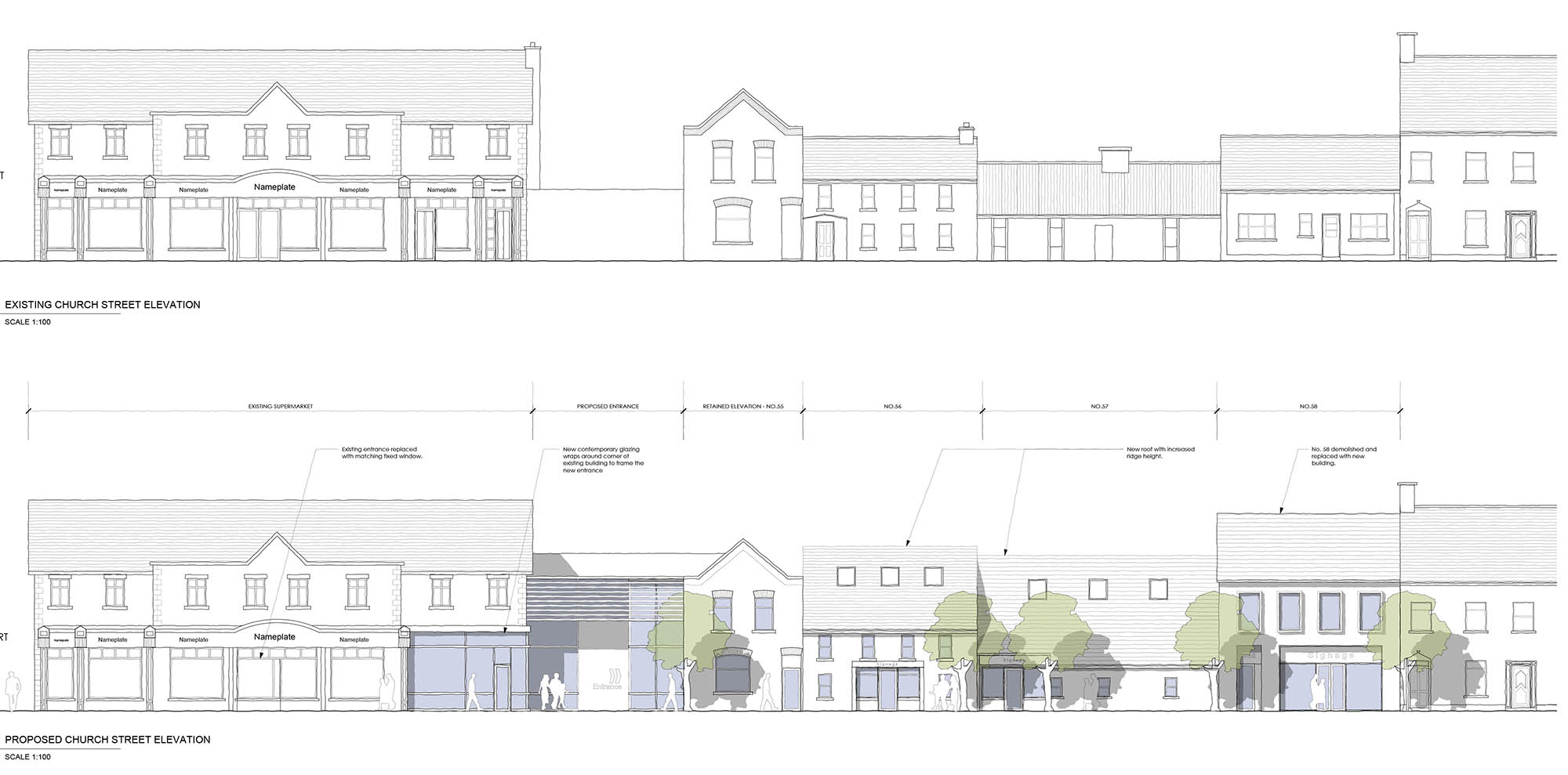 Skerries Existing Church Street Elevation and Proposed Church Street Elevation Restoration and Development plans by Hoban Design Architects