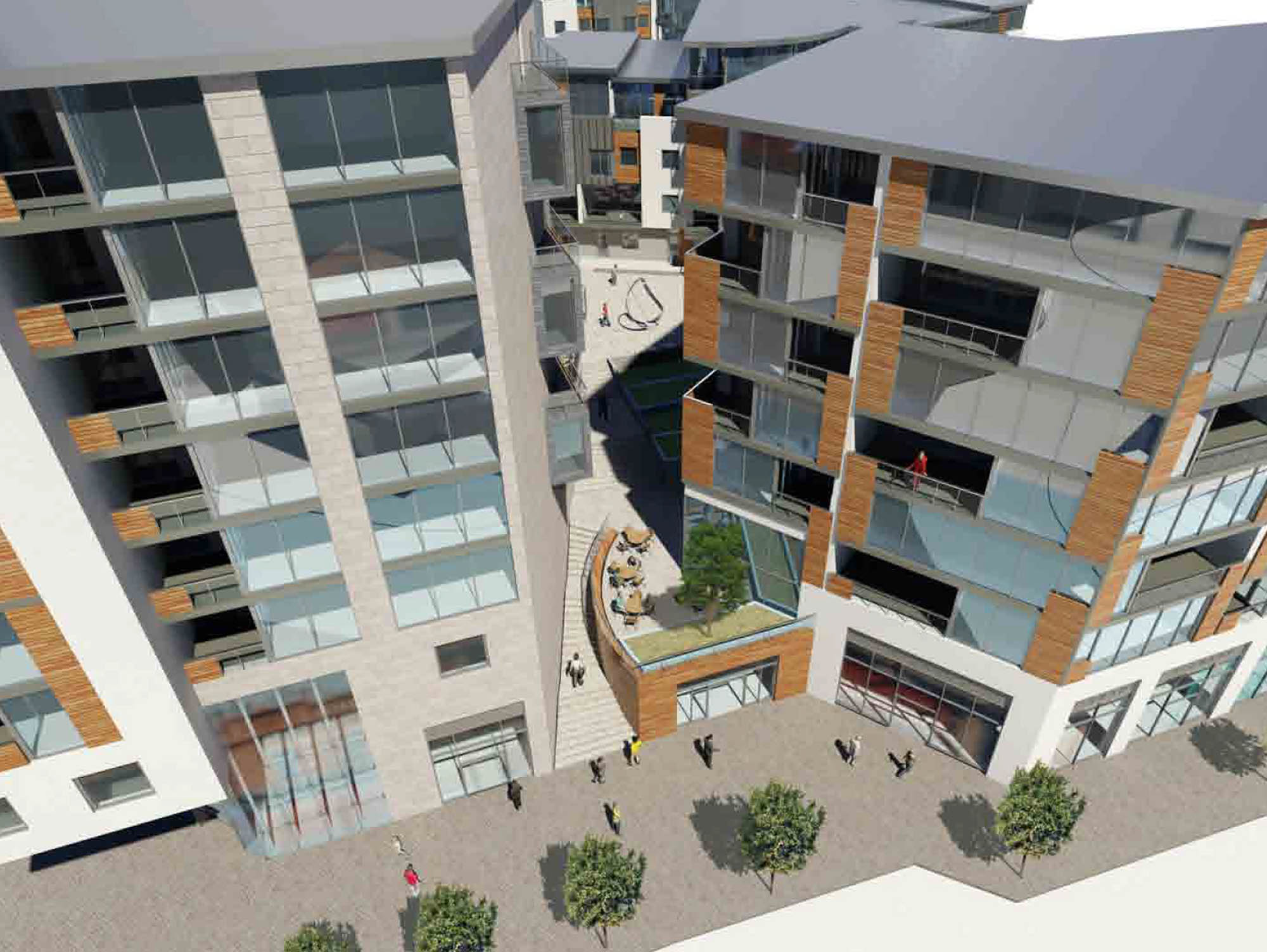 Architect's concept 3D render of Dublin City Apartments Exterior