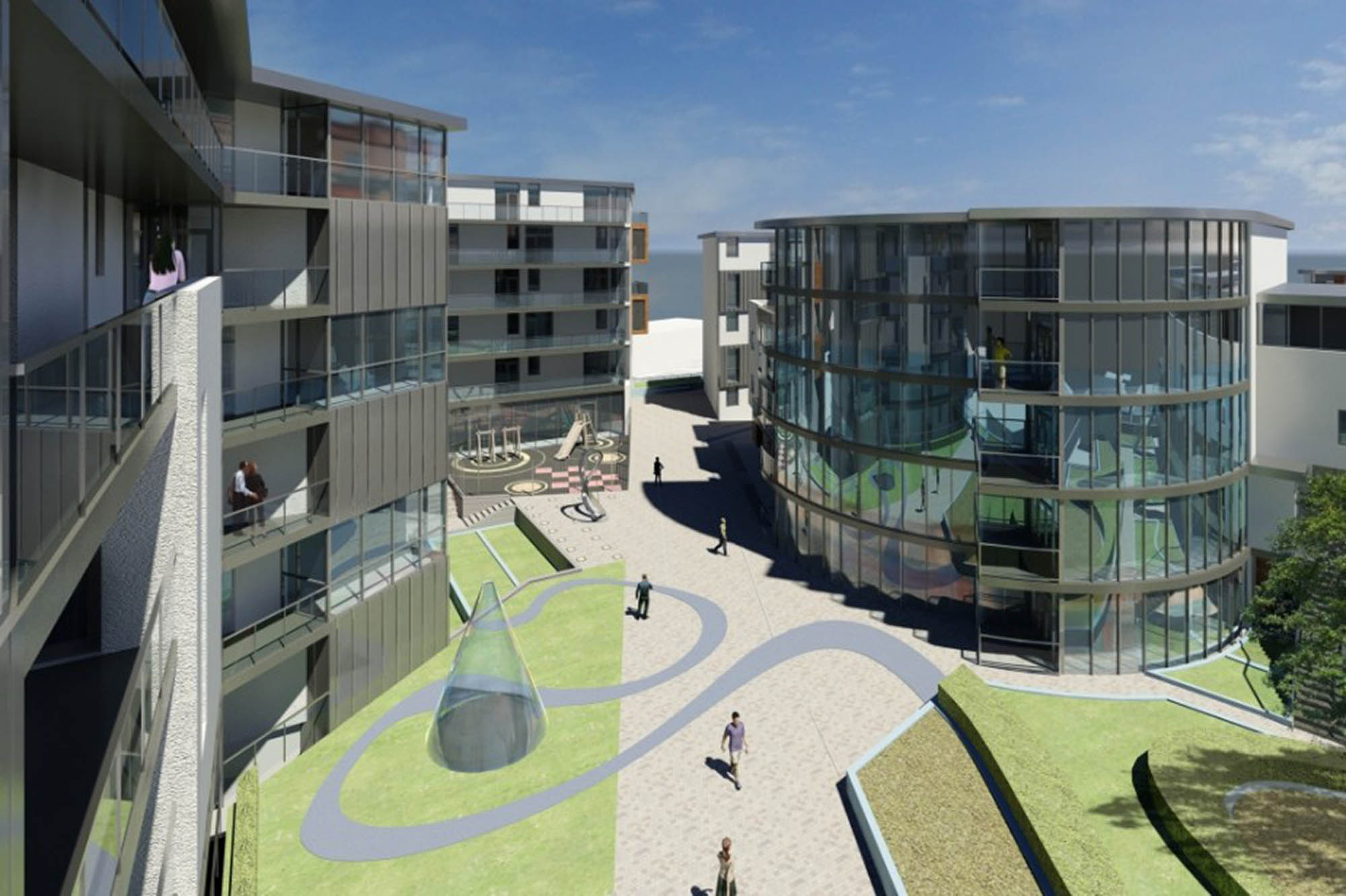 Architect's impression of River Liffey inspired courtyard area for Dublin Apartment blocks