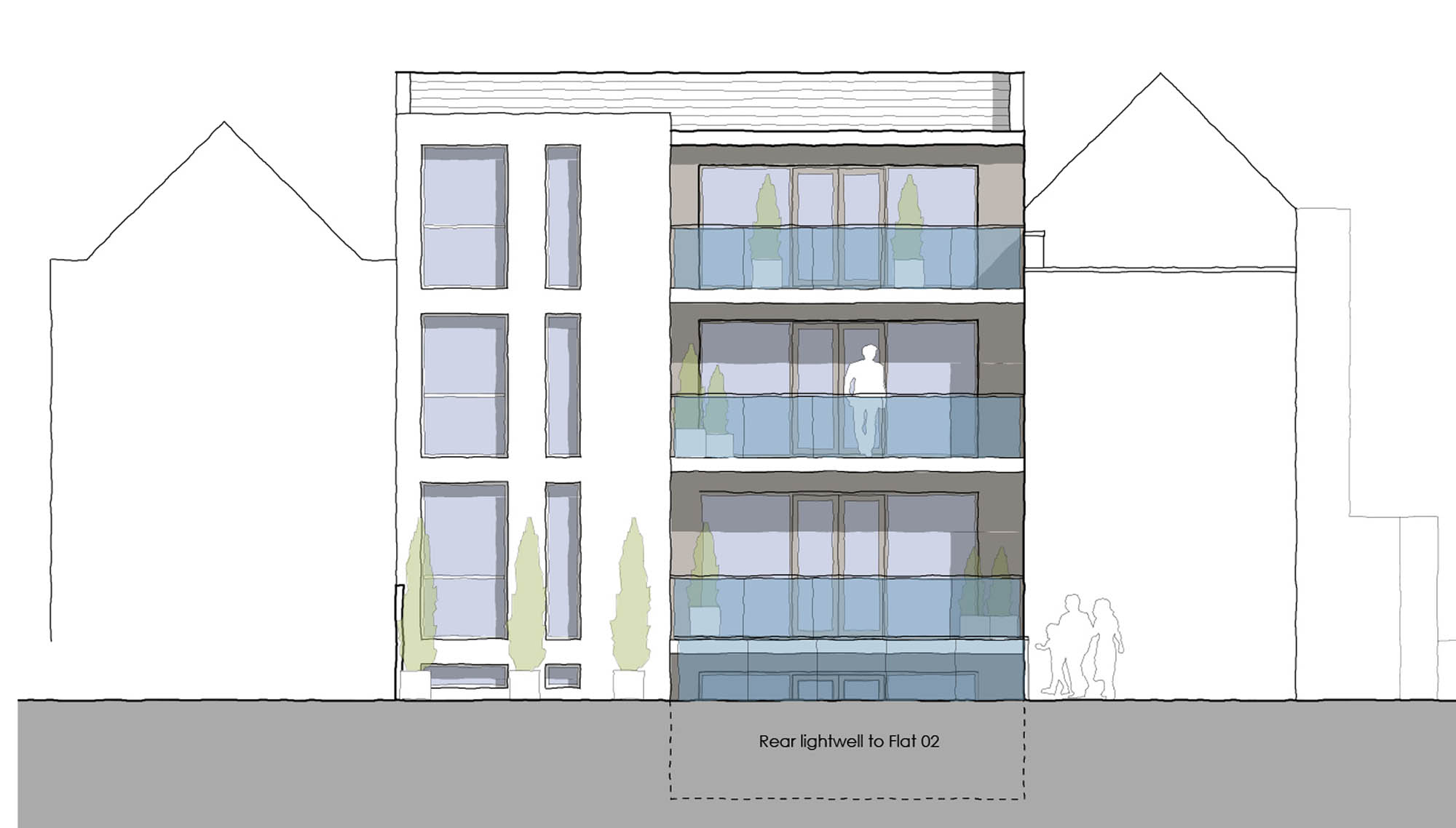 Rear elevation drawing for Richmond Road luxury flats renovation and development project