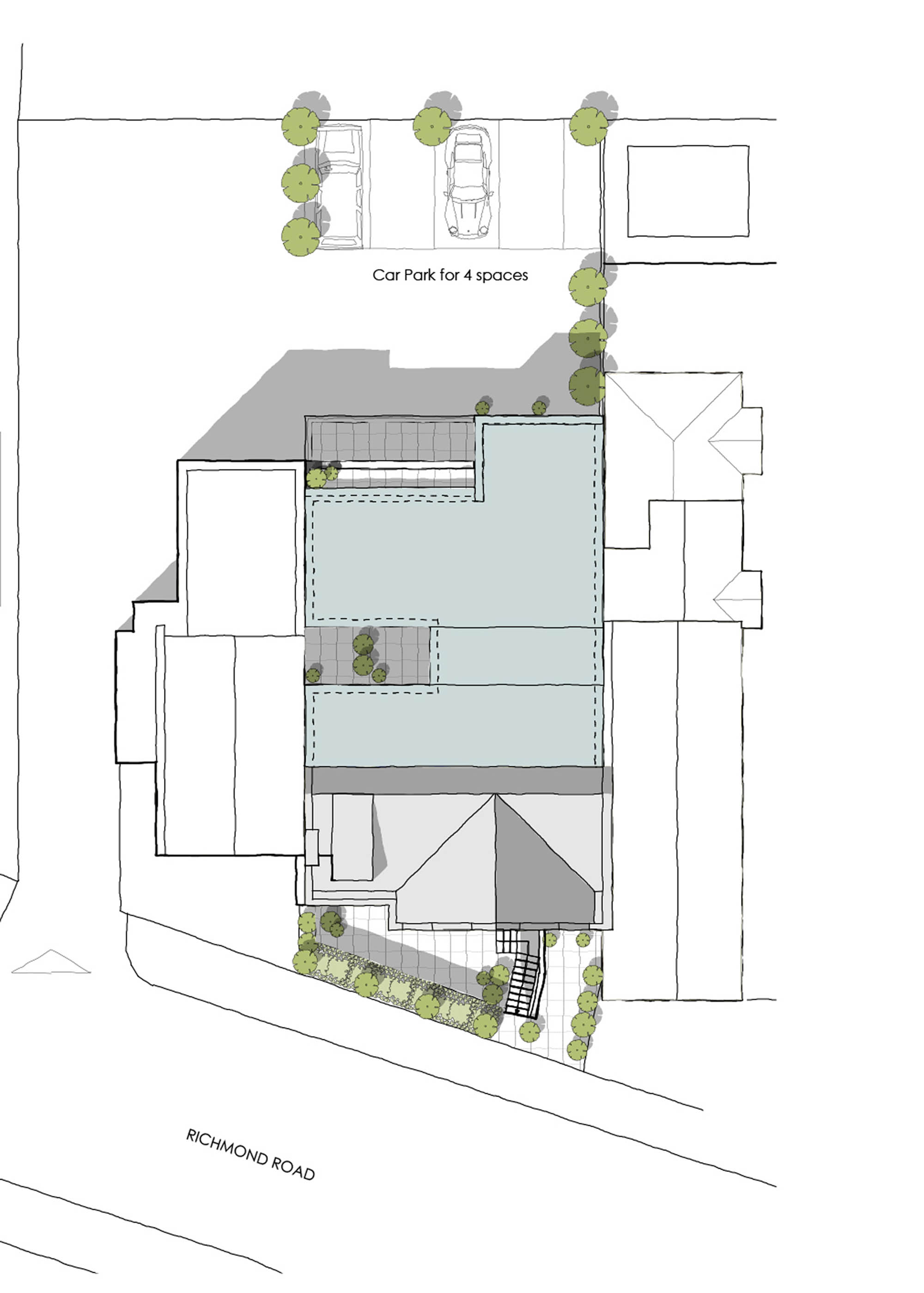 Aerial plan and new layout for Richmond road luxury flats renovation