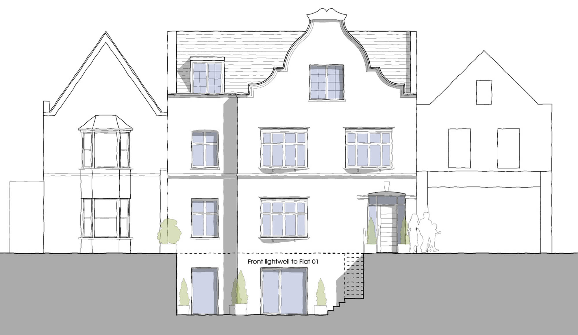 Front elevation plans for Richmond Road luxury apartments development