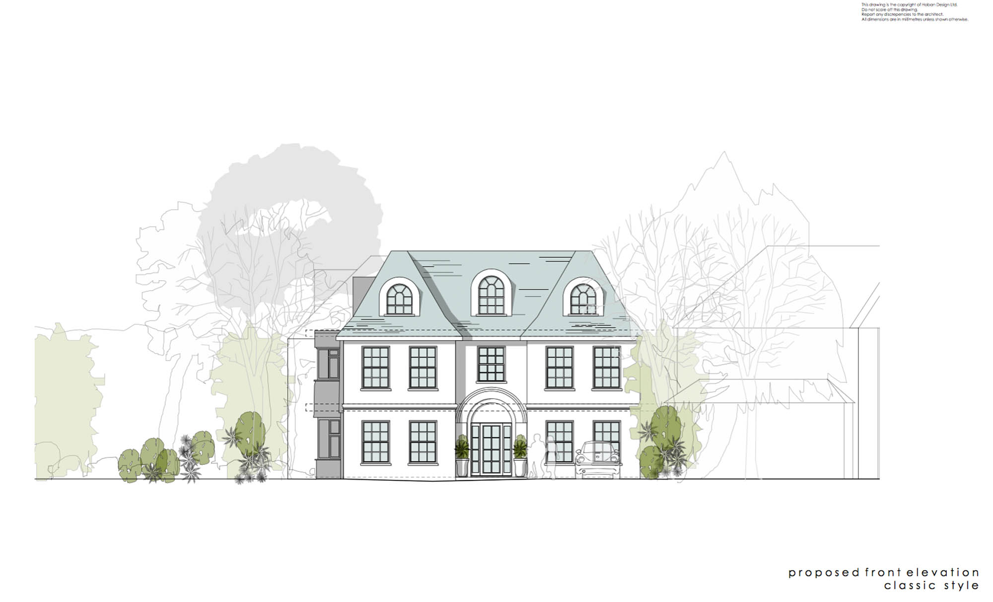 House front elevation plan for Kingston renovation project