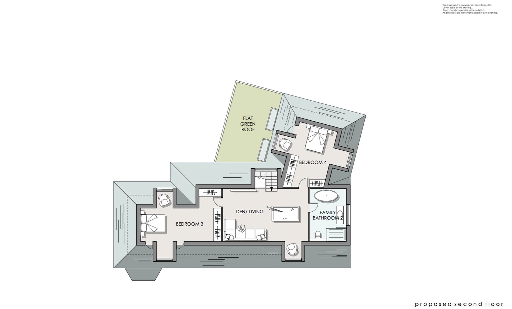 Second floor plan for Kingston renovation with extra bedrooms, den/living area and second family bathroom