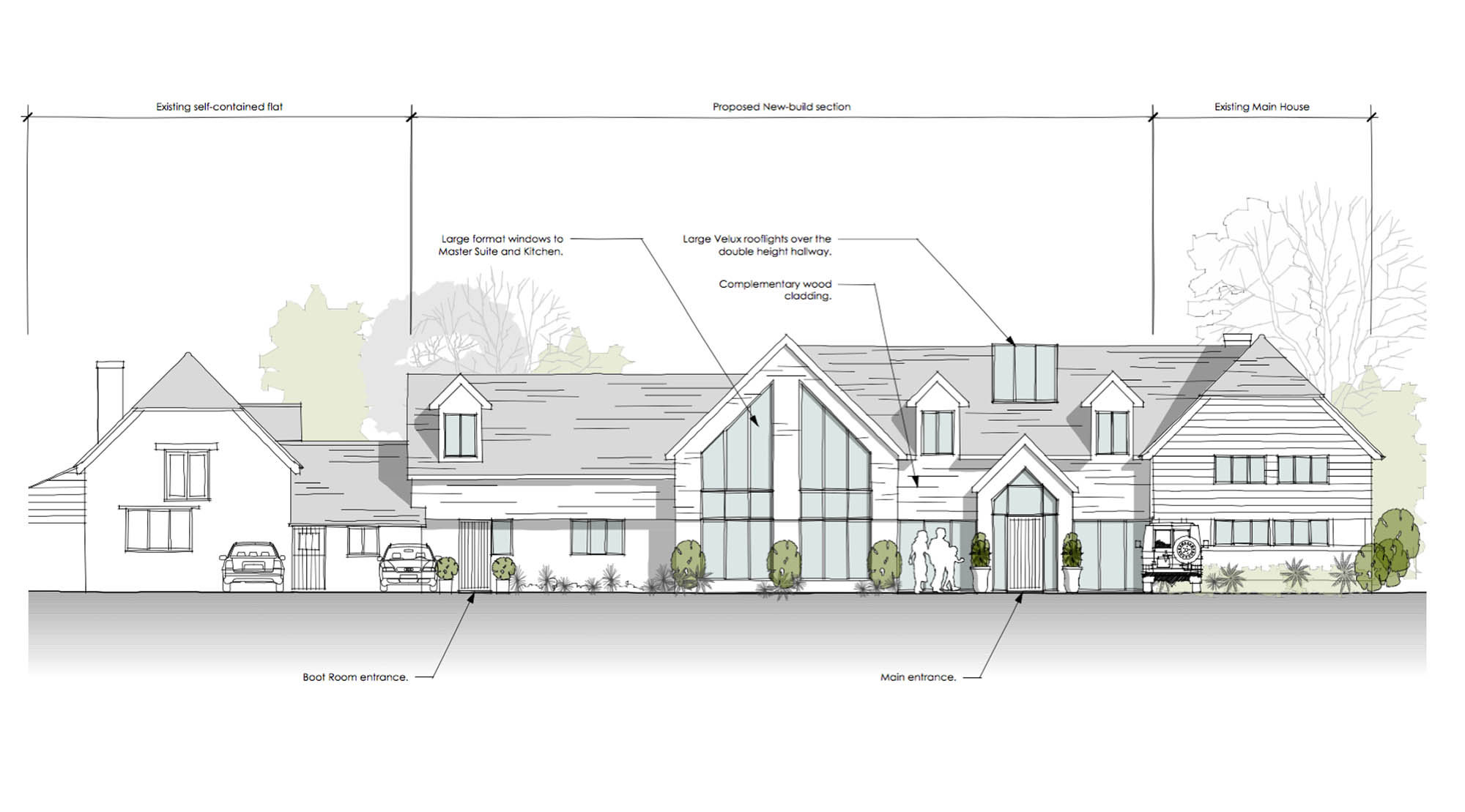 Front elevation proposed plan for Worcestershire Barn Conversion - main entrance, boot room entrance, large format windows for master-suite and kitchen, hallway rooflights