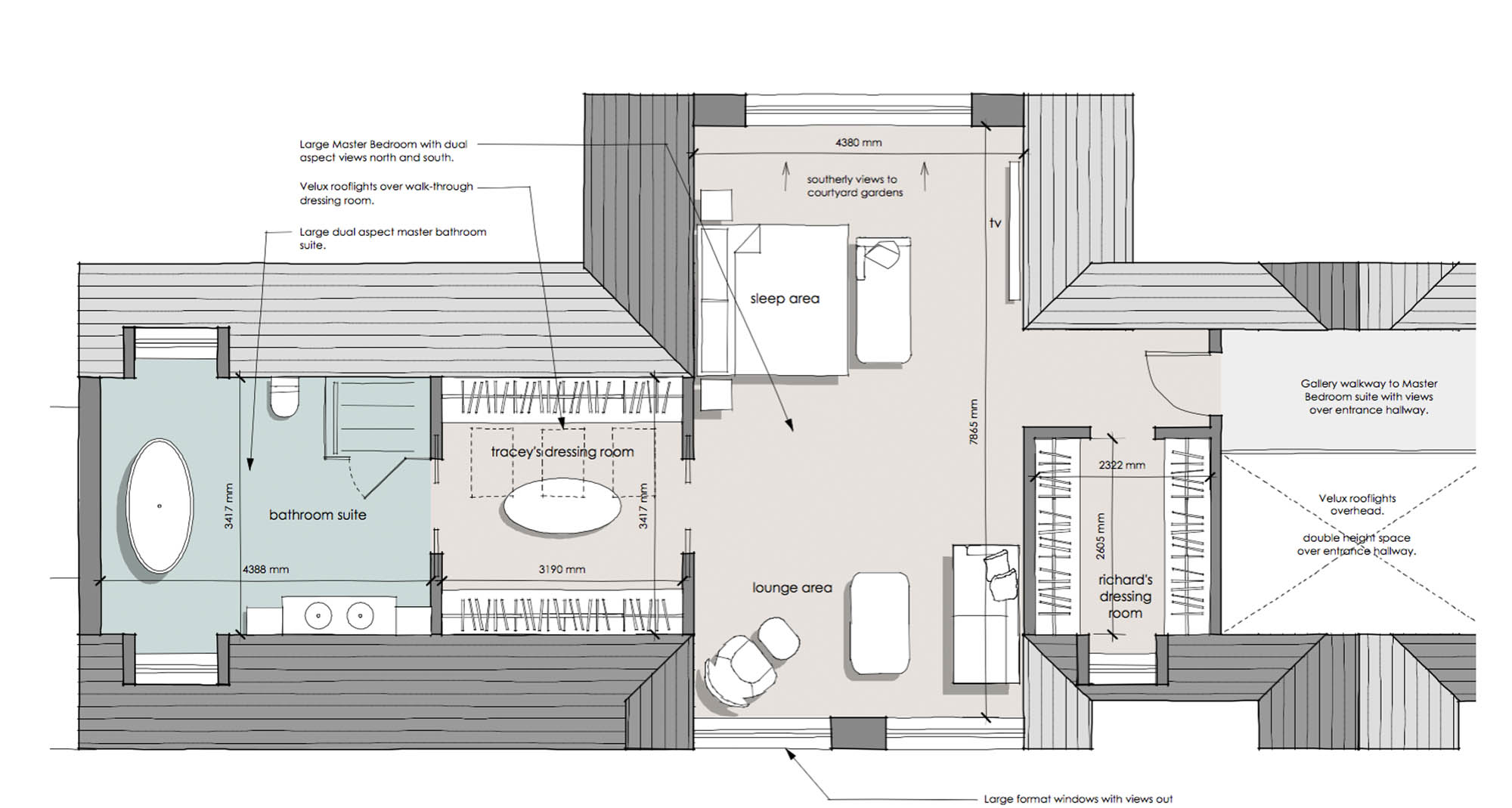 Aerial plan for first floor master bedroom with large ensuite, his and hers dressing rooms and gallery walkway - Worcestershire Barn Conversion