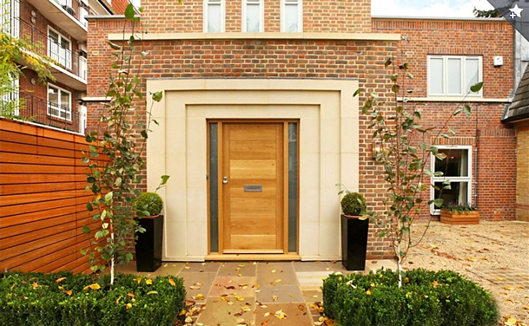 Art deco entrance and exterior of Putney renovation project