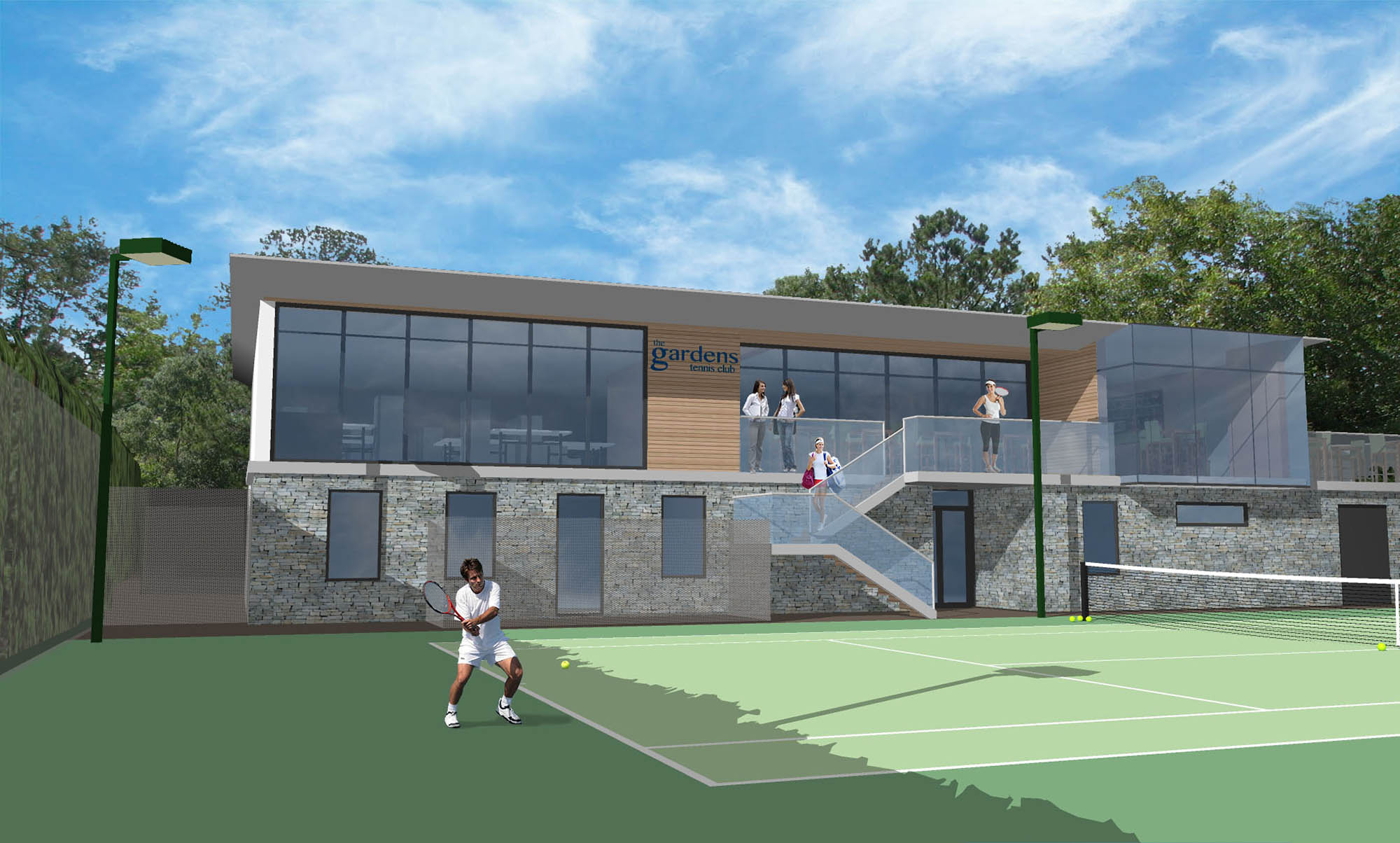 Propsed 3D render design for The Gardens Tennis Club