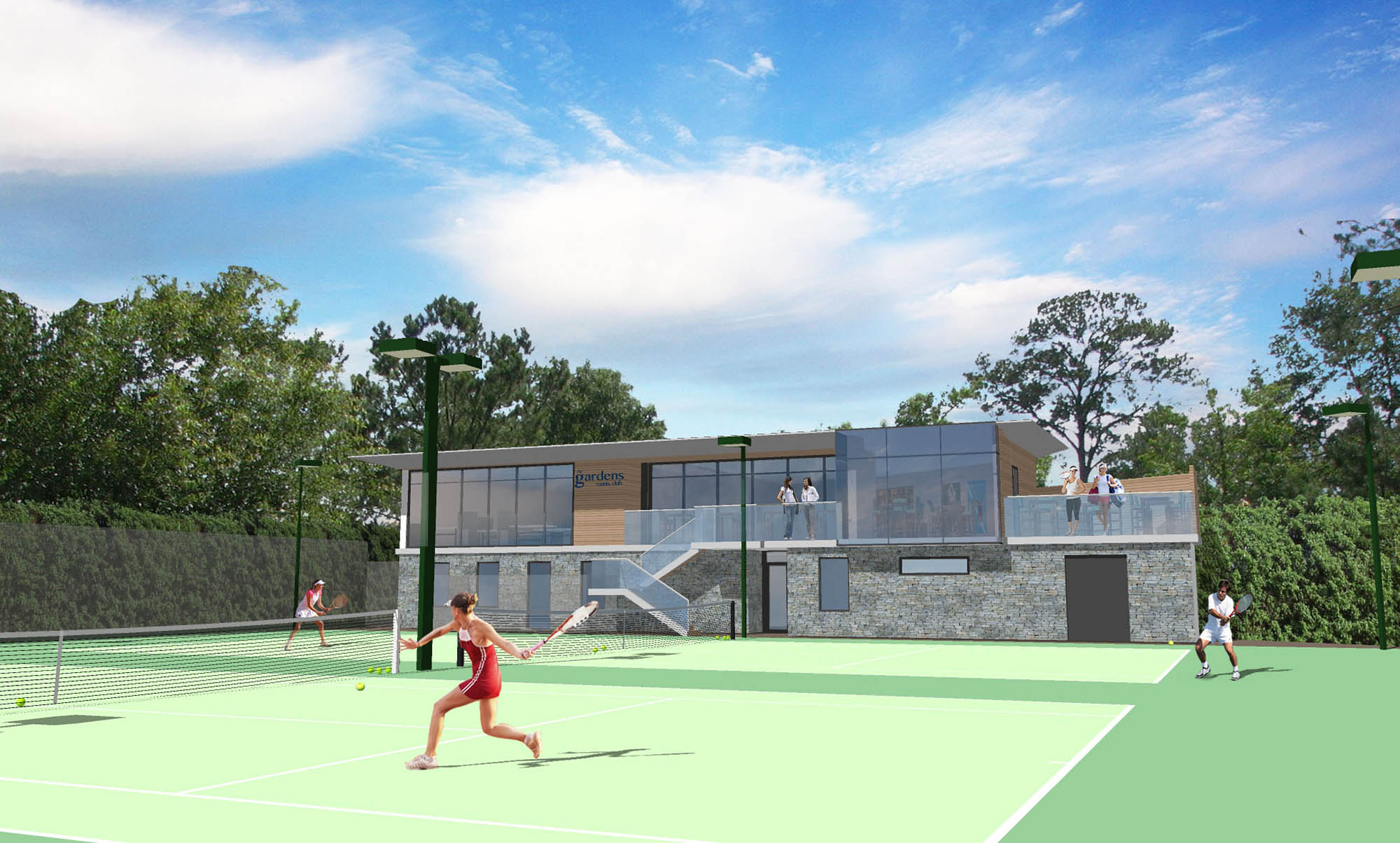 Architect's impression of view of the new pavilion for The Gardens Tennis Club view from the courts